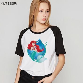 Harajuku kawaii t-shirt women Alice / Snow White / The Little Mermaid top tees princess Cotton t shirt  Big Size women clothing