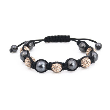 Black agate germ gold shinning Shamballa bracelet for women