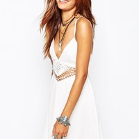 Missguided Cheesecloth Crochet Waist Swing Dress