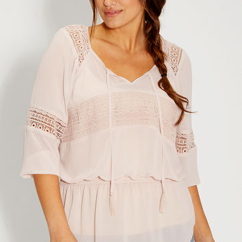 plus size peasant top with crochet