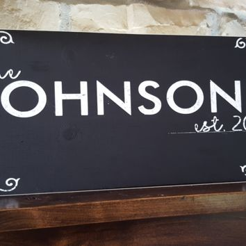 Black Personalized Family Name Sign Plaque Wedding Sign Established Family Sign 8x24 Carved Engraved Wall Sign wedding, housewarming, anniversary gift