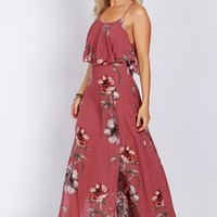 Ruffled Floral Print Maxi Dress Mauve