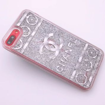 CHANEL New iPhone8 Mobile Shell 7plus Beads Soft Edge Diamond Phone Case F0287-1 Silver