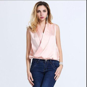 DCCKHY9 European and American fashion ladies shirt, sleeveless shawl collar shirt silk blouse for ladies