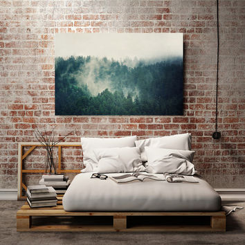 "Teal Canvas Art, Large Canvas Print, Landscape Photography, Large Art, Green Tree Art, Nature Fog Mountain Wall Decor, ""Savage Beauty"""