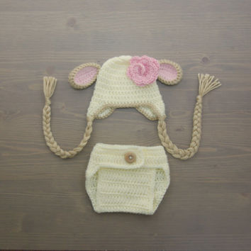 Crochet Lamb Baby Costume, Crochet Lamb Costume, Newborn Costume, Crochet Costume, Crochet Lamb Hat, Newborn Photo Prop, Diaper Cover Set