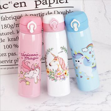 Water Bottles 500ml Capacity Drinking Water Cartoon Unicorn Stainless Steel Vacuum Flasks Water Bottle Kids Gift Kitchen,W