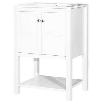 White 24-inch Bathroom Vanity Cabinet with Ceramic Sink Top
