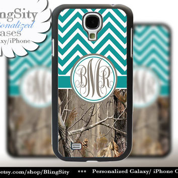 Monogram Galaxy S5 case S4 Real Tree Camo Turquoise Chevron Personalized Zig Zag Samsung Galaxy S3 Note 2 3 Cover Country Girl