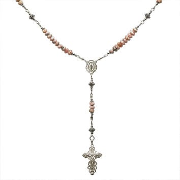 "Sterling Silver Rosary Necklace, Rhodochrosite 6mm, Crucifix & Miraculous Medal, 17"" Necklace"
