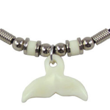 Whale Tail Bone Carving Cord Choker