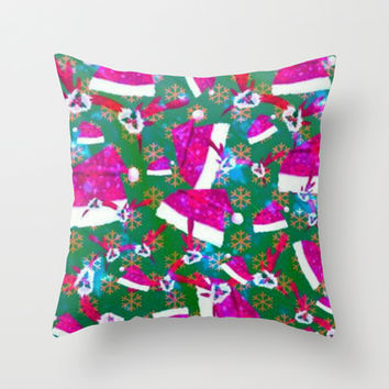 Santa hat, snow flakes and antlers original Throw Pillow by Lilbudscorner