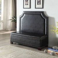 Fadey collection espresso finish wood legs and espresso faux leather upholstered settee love seat