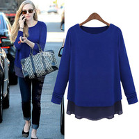 Plain layered Chiffon Sweater