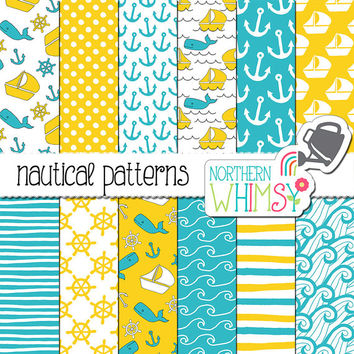"Blue and Yellow Digital Paper - ""Nautical Patterns"" - hand drawn boat, whale & anchor seamless patterns - scrapbook paper - commercial use"