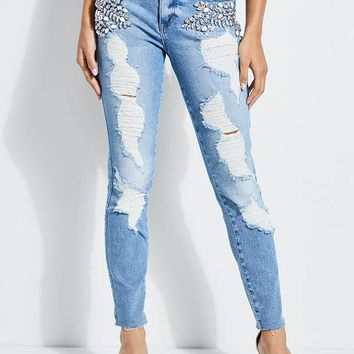 Embellished Sexy Curve Skinny Jeans at Guess