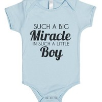 Such a big Miracle-Unisex Light Blue Baby Onesuit 00