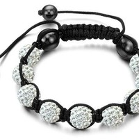 Swarovski Elements Crystal Bead Shamballa Bracelet with 9 10mm Iced out Disco ball and 4 highly polished Hematite beads-SH3460:Amazon:Jewelry