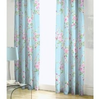 "BLUE PINK ROSE FLORAL PENCIL PLEAT LINED COTTON CURTAINS DRAPES 66"" X 72"" TO MATCH DUVET"