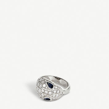 BVLGARI Serpenti Seduttori 18kt white-gold, diamond and sapphire ring