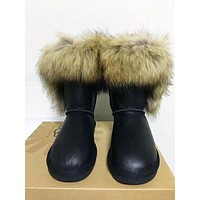 UGG Women High Quality New Fashion Leather Boots Keep Warm Wool Shoes Black