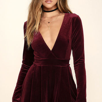 Decorated in Love Burgundy Velvet Romper
