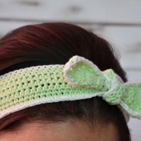 Dolly bow headband, top knot headband, adult headbandwomen, green crochet pin up headband, boho headband, , cotton retro style hairband