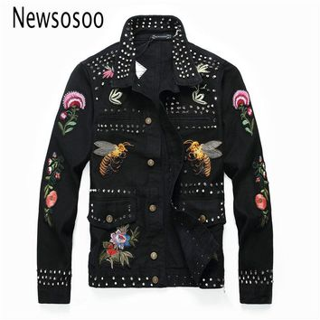 European American Style Pattern mens Badge denim jacket brand luxury men Outerwear & Coats black denim jacket Rivet slim jacke