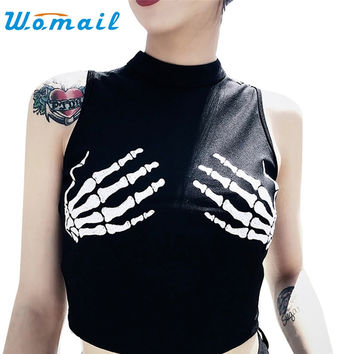 Drop Shipping Crop Top Women's Fashion Skeleton Hand Print Funny Black Shirt Sleevless Summer Tops 170606