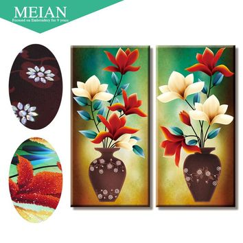 Meian,Special Shaped,Diamond Embroidery,Floral,Vase,Red,5D,Diamond Painting,Cross Stitch,3D,Diamond Mosaic,Decoration,Christmas