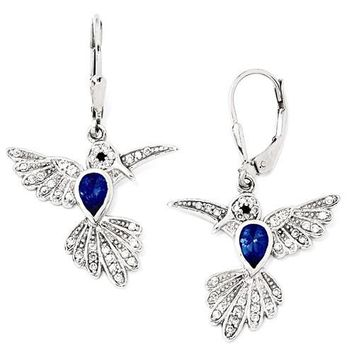 Cheryl M Sterling Silver Blue Hummingbird Leverback Earrings