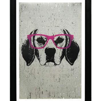 """Beagle with Pink Glasses Art Print / Poster - 13x19"""""""