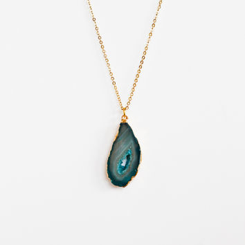 Natural Beauty Rectangle Necklace-Ocean