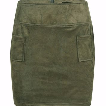 Suede Pocket High Waist Mini Skirt
