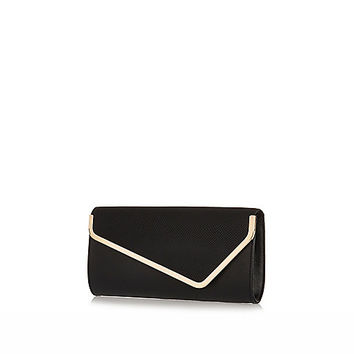 River Island Womens Black metal trim asymmetric clutch bag