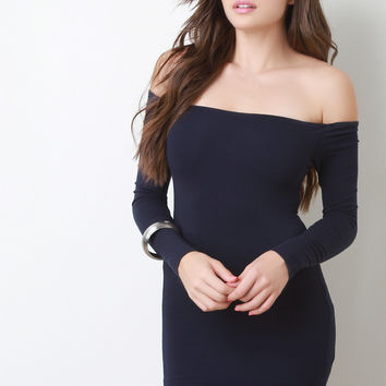 Off-The-Shoulder Long Sleeves Bodycon Mini Dress