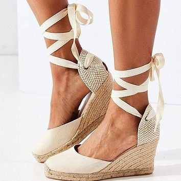 Women Sandals Wedges Shoes Lace Up