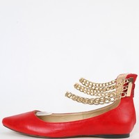 Liliana Tobbi-3 Pointy Chain Strap Flats | MakeMeChic.com