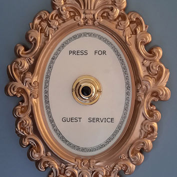 "Gold frame ""Press for Guest"" Service doorbell wall decor"