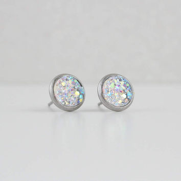 Clear Iridescent Translucent Druzy Earrings