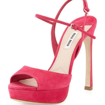 MIU MIU Daring Pink Double Ankle-Strap Suede Sandals ~ 37.5 ~ MSRP $690