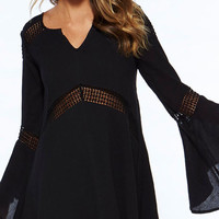 Black Bell Sleeves Tunic Dress
