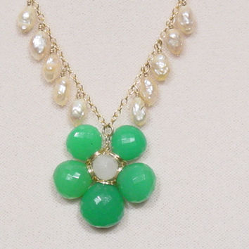 Chrysoprase Pearls 14K Gold Filled Necklace
