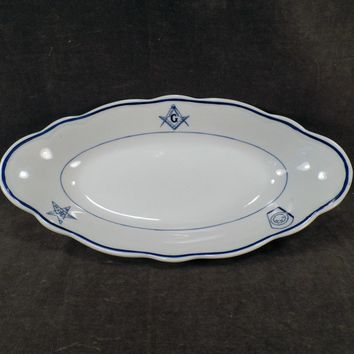 Vintage Restaurant China – Old Masonic Lodge Serving Piece – Relish or Celery Tray