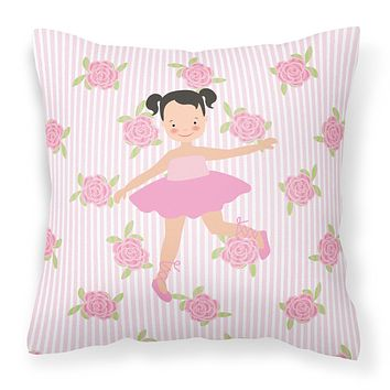 Ballerina Black Hair Ponytails Fabric Decorative Pillow BB5187PW1414