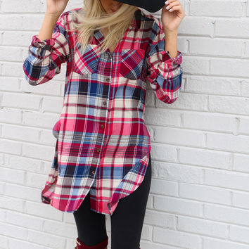Change Of Heart Magenta Plaid Button-Down Shirt With Side Slits