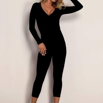 Solid V Neck Unitard Jumpsuit