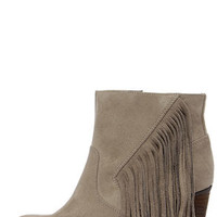 Madden Girl Descent Taupe Fringe Booties