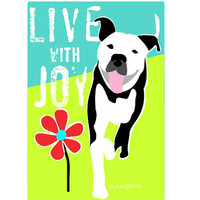 Pitbull Joy Dog Art Print by GoingPlaces2 on Etsy