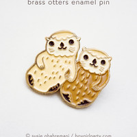 Otter Pin - Otters Lapel Pin - Otters Holding Hands Enamel Pin by boygirlparty
